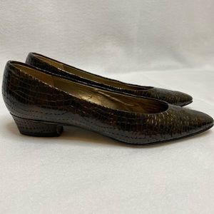 Naturalizer Snakeskin Pointy Toe Block Heel